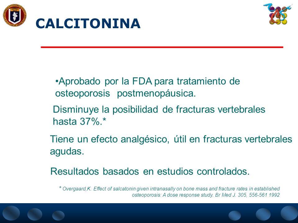 CALCITONINA Aprobado por la FDA para tratamiento de osteoporosis postmenopáusica. Disminuye la posibilidad de fracturas vertebrales.
