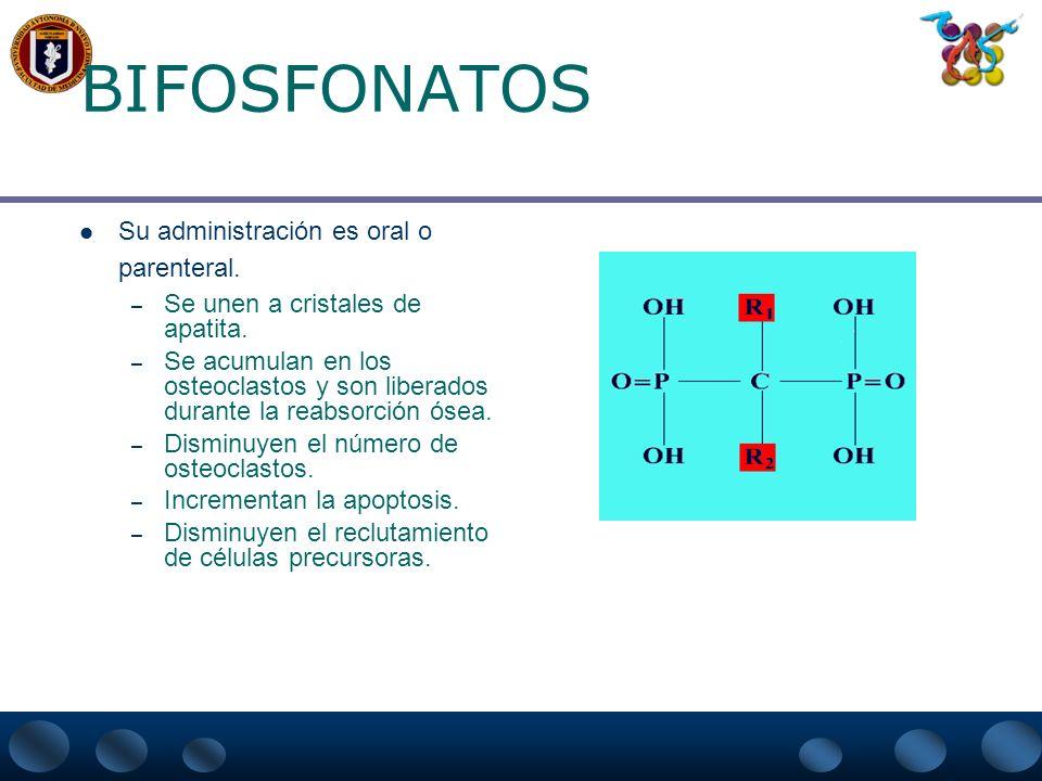BIFOSFONATOS Su administración es oral o parenteral.