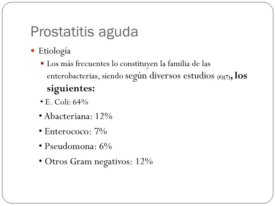 Prostatitis aguda • Abacteriana: 12% • Enterococo: 7% • Pseudomona: 6%