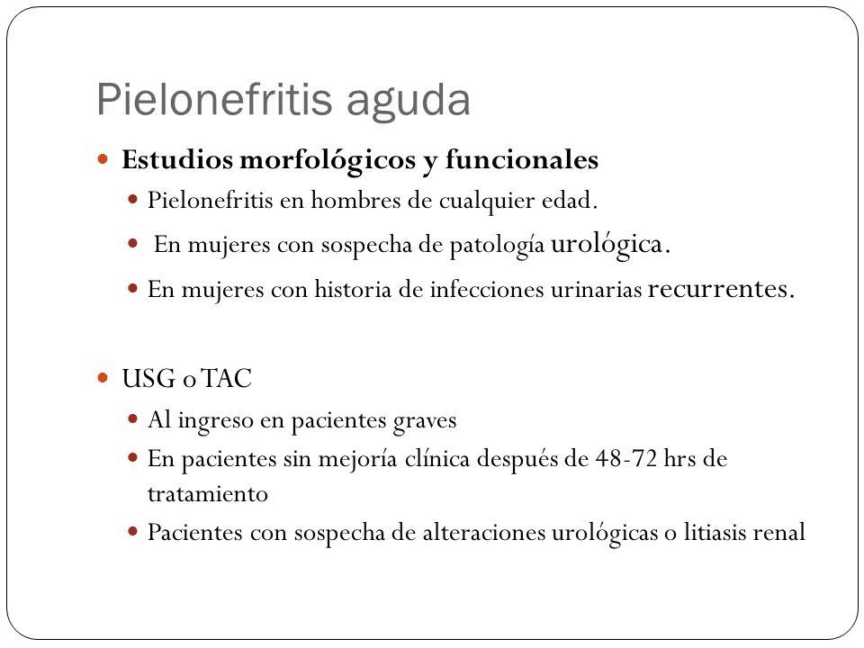 Pielonefritis aguda Estudios morfológicos y funcionales USG o TAC