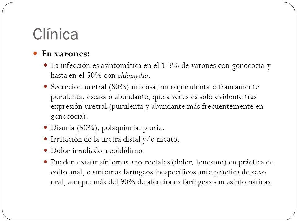 ClínicaEn varones: La infección es asintomática en el 1-3% de varones con gonococia y hasta en el 50% con chlamydia.