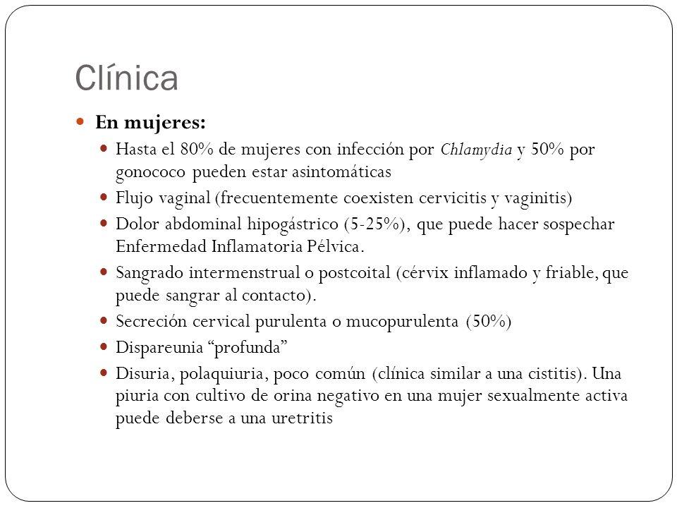 Clínica En mujeres: Hasta el 80% de mujeres con infección por Chlamydia y 50% por gonococo pueden estar asintomáticas.