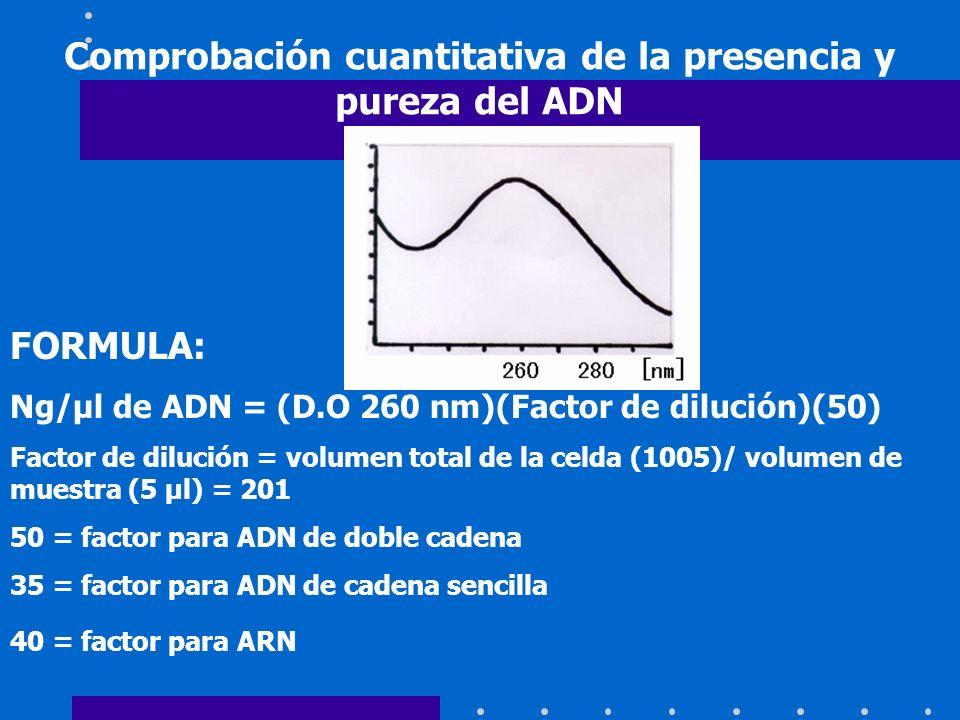 Comprobación cuantitativa de la presencia y pureza del ADN