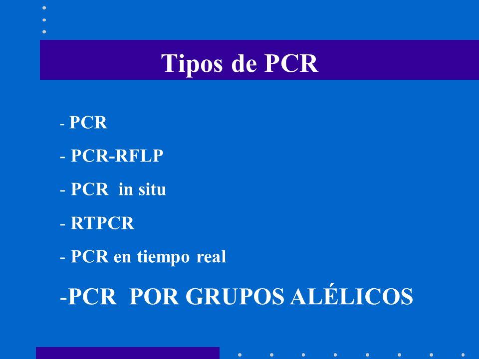 Tipos de PCR PCR POR GRUPOS ALÉLICOS PCR-RFLP PCR in situ RTPCR