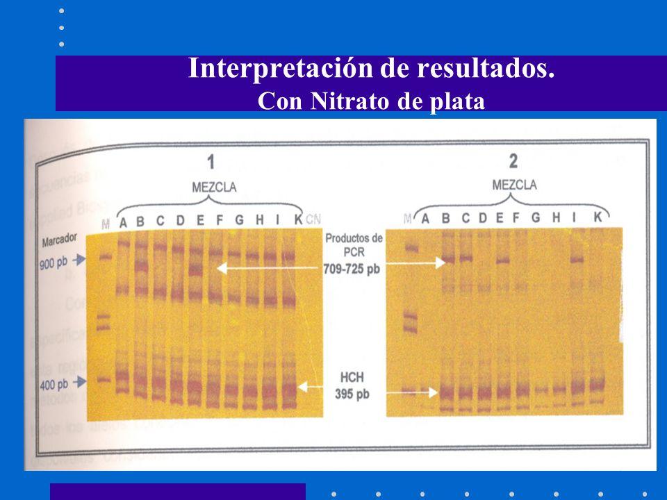 Interpretación de resultados. Con Nitrato de plata