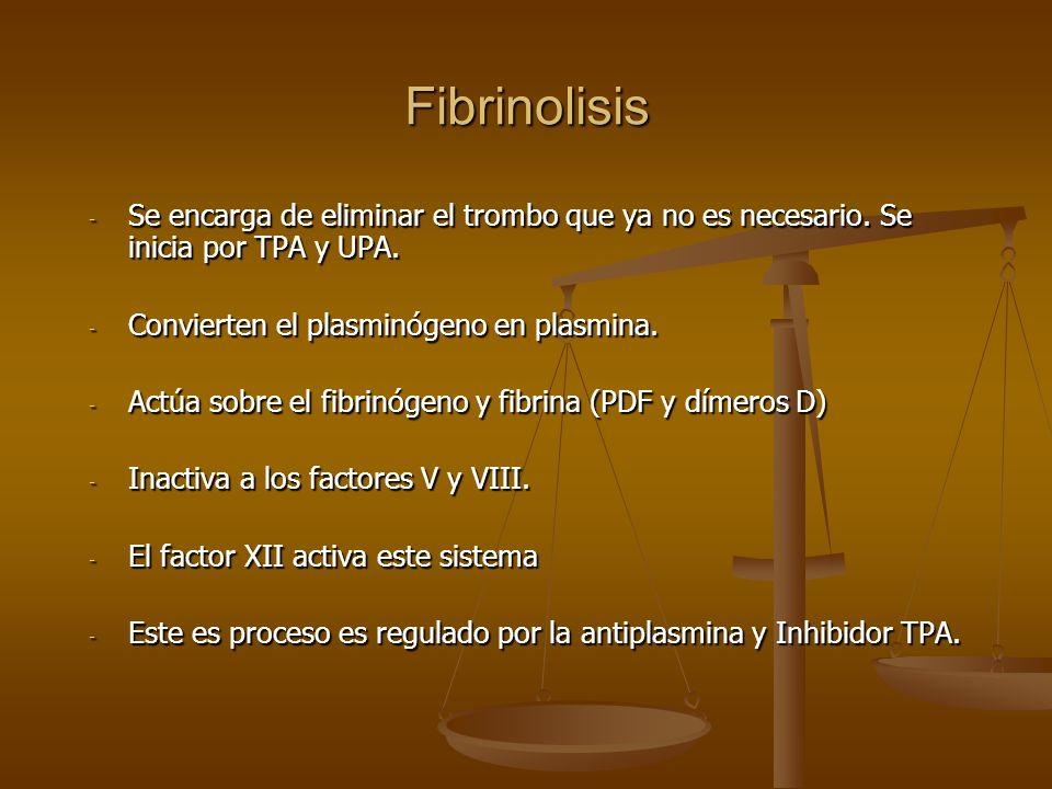 Fibrinolisis Se encarga de eliminar el trombo que ya no es necesario. Se inicia por TPA y UPA. Convierten el plasminógeno en plasmina.