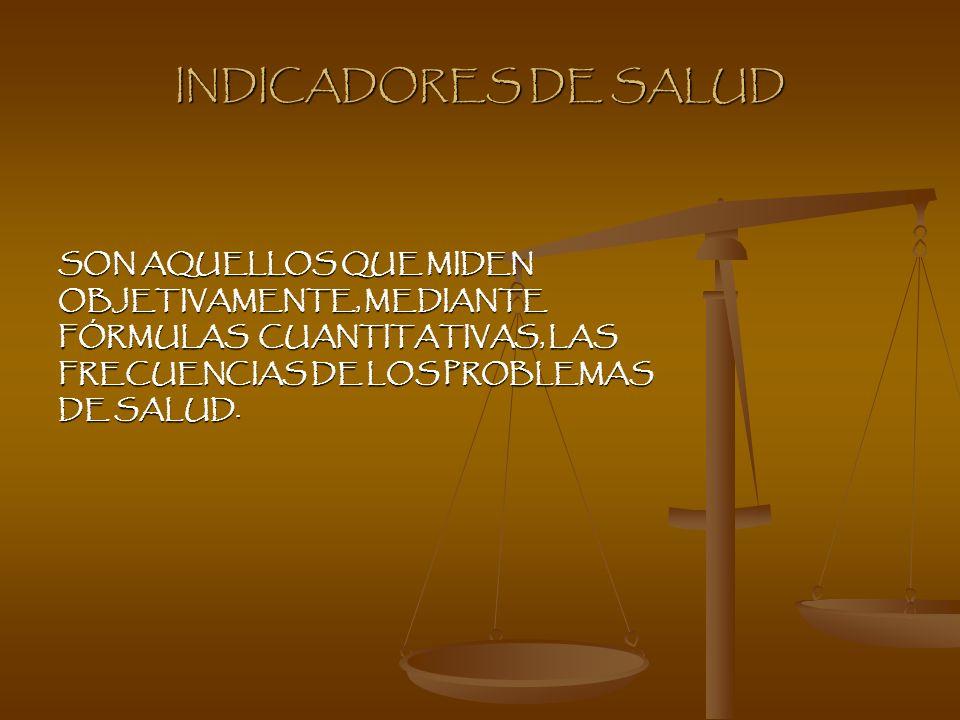 INDICADORES DE SALUD SON AQUELLOS QUE MIDEN OBJETIVAMENTE, MEDIANTE