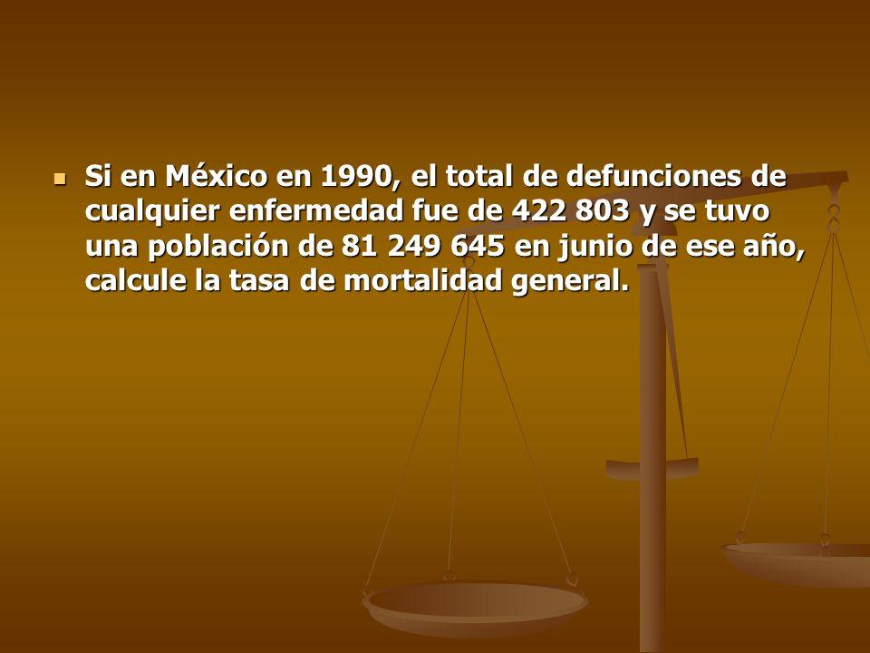 Si en México en 1990, el total de defunciones de cualquier enfermedad fue de 422 803 y se tuvo una población de 81 249 645 en junio de ese año, calcule la tasa de mortalidad general.