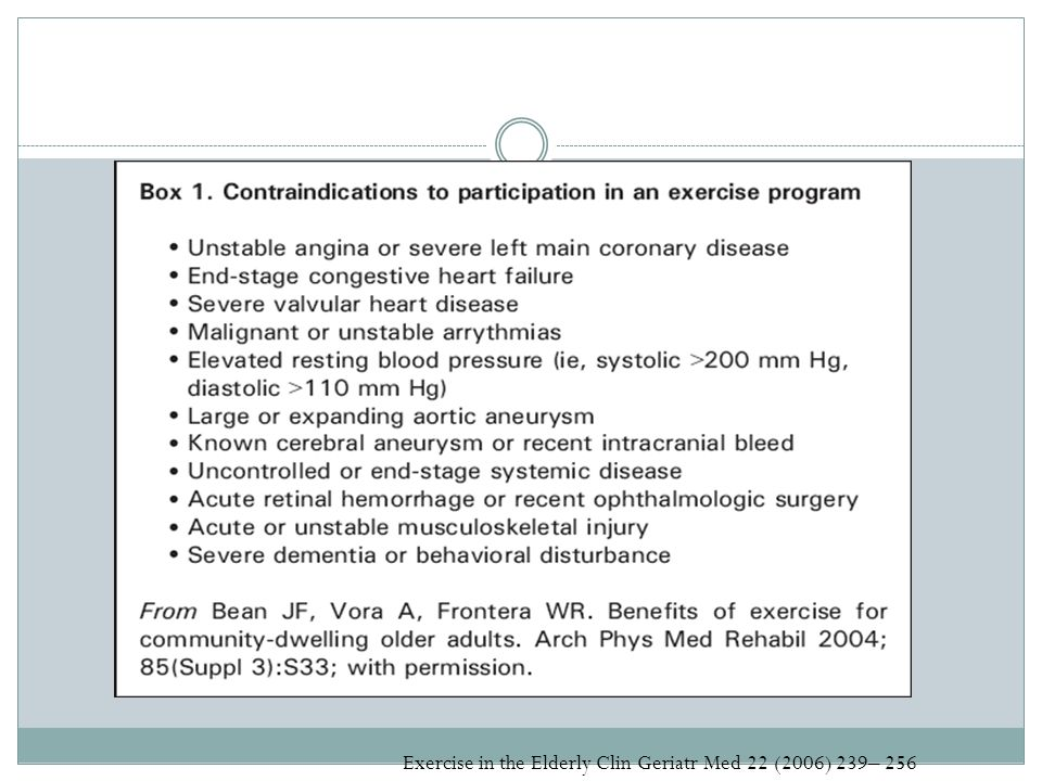 Exercise in the Elderly Clin Geriatr Med 22 (2006) 239– 256
