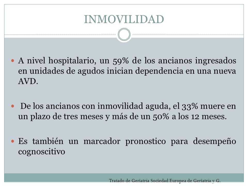 INMOVILIDADA nivel hospitalario, un 59% de los ancianos ingresados en unidades de agudos inician dependencia en una nueva AVD.