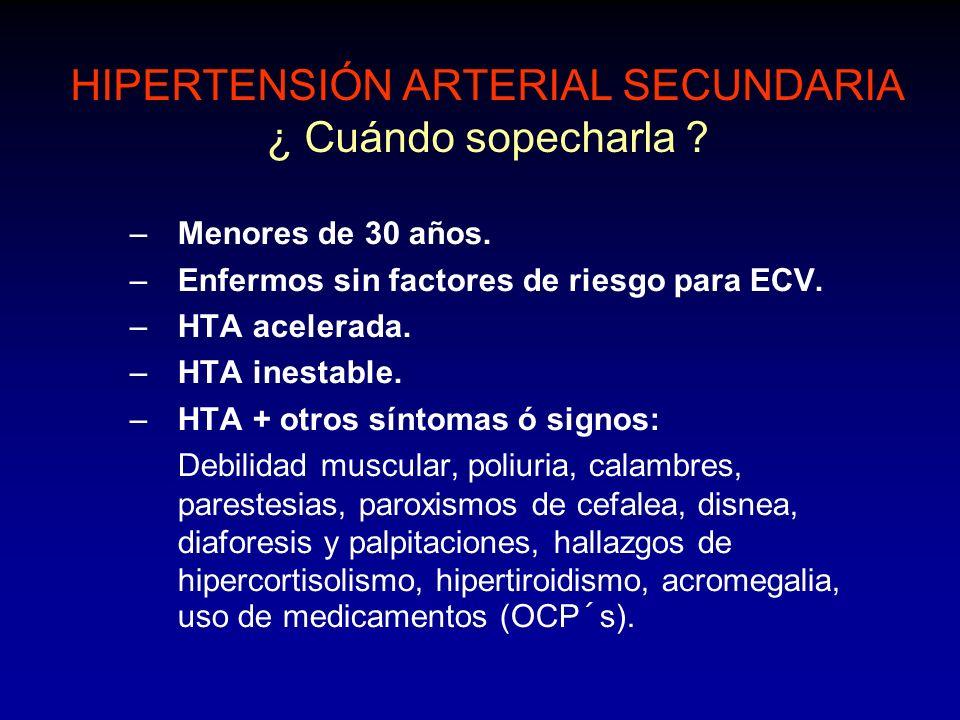 HIPERTENSIÓN ARTERIAL SECUNDARIA ¿ Cuándo sopecharla