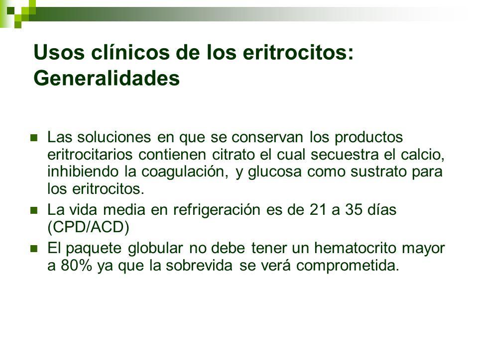 Usos clínicos de los eritrocitos: Generalidades