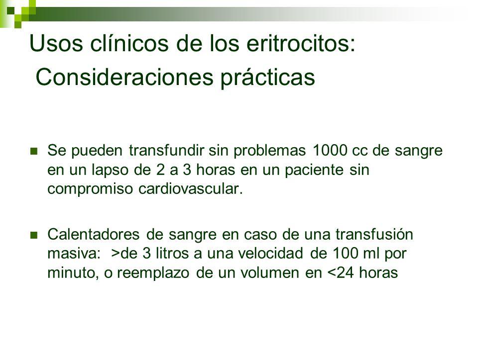 Usos clínicos de los eritrocitos: Consideraciones prácticas