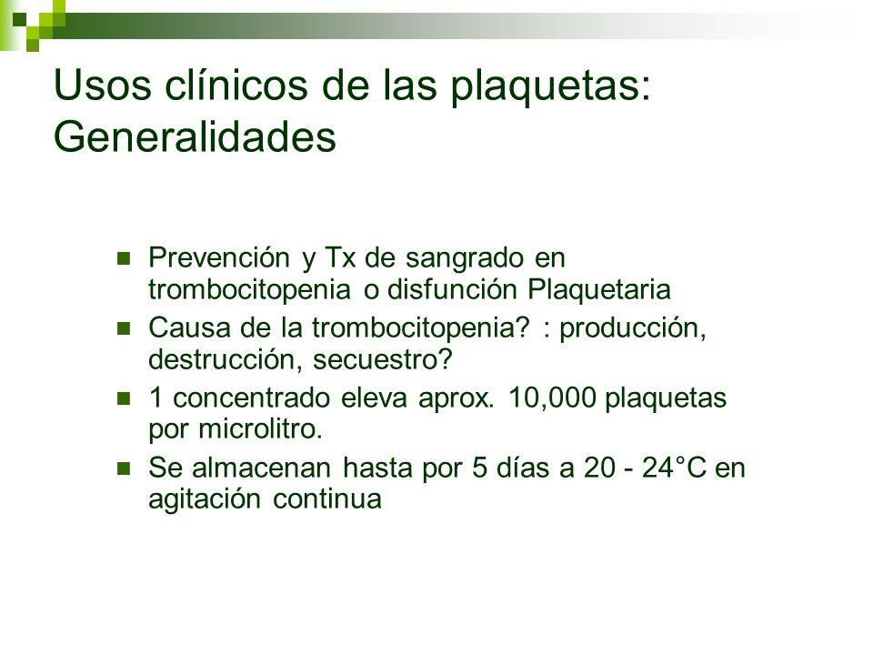 Usos clínicos de las plaquetas: Generalidades