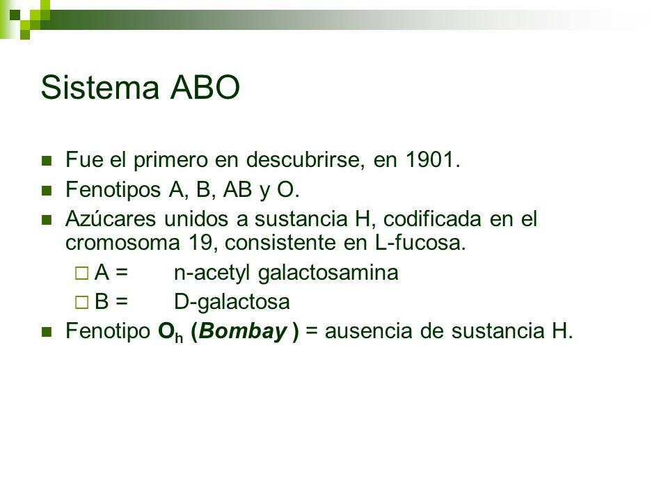 Sistema ABO Fue el primero en descubrirse, en 1901.