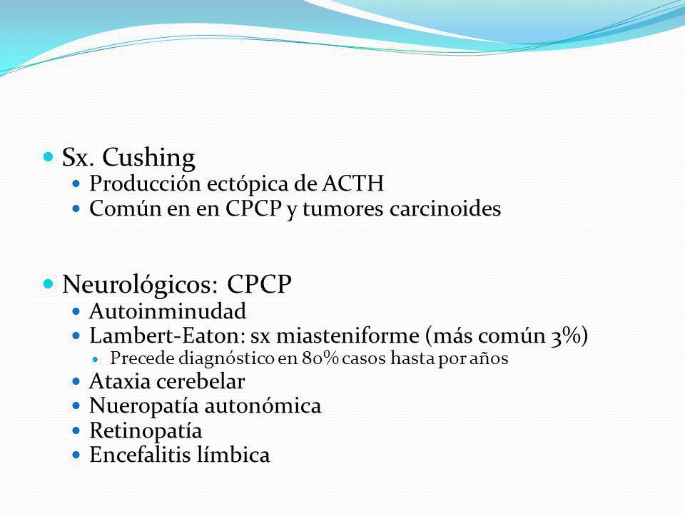 Sx. Cushing Neurológicos: CPCP Producción ectópica de ACTH