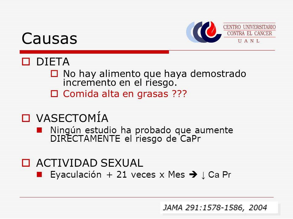 Causas DIETA VASECTOMÍA ACTIVIDAD SEXUAL