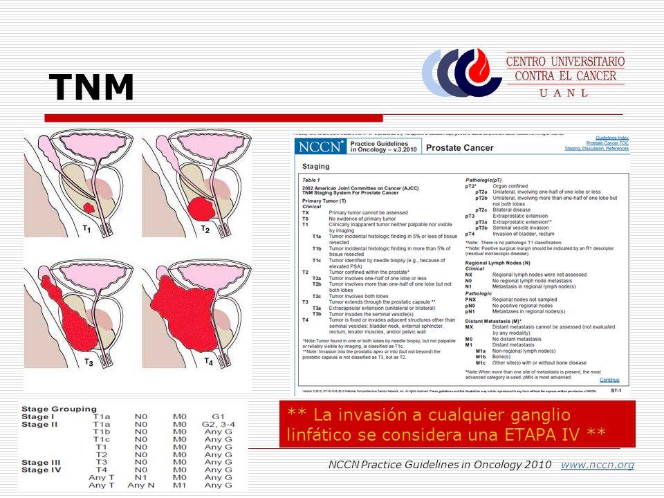 TNM ** La invasión a cualquier ganglio linfático se considera una ETAPA IV ** NCCN Practice Guidelines in Oncology 2010 www.nccn.org.
