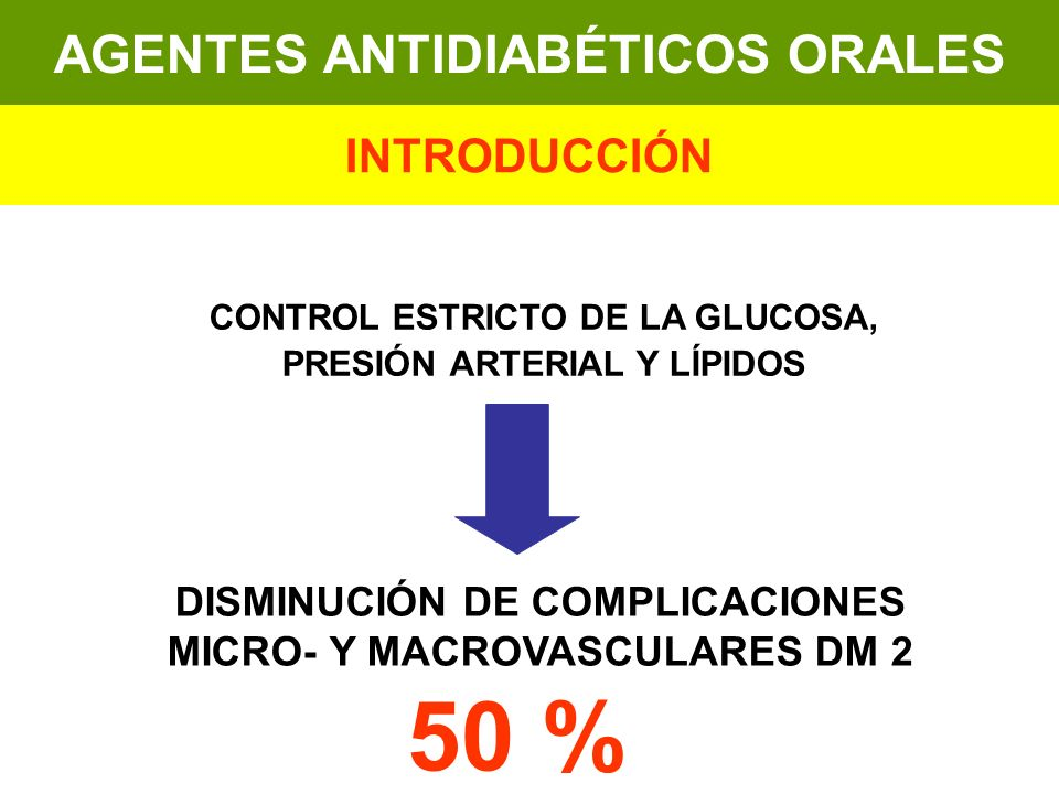 50 % AGENTES ANTIDIABÉTICOS ORALES INTRODUCCIÓN