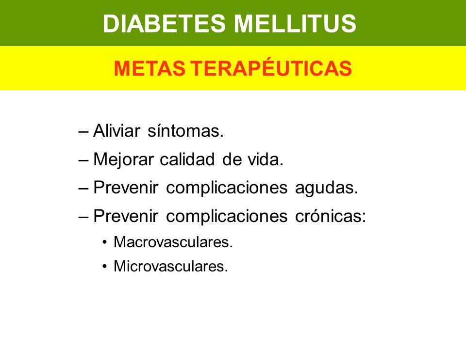 DIABETES MELLITUS METAS TERAPÉUTICAS Aliviar síntomas.