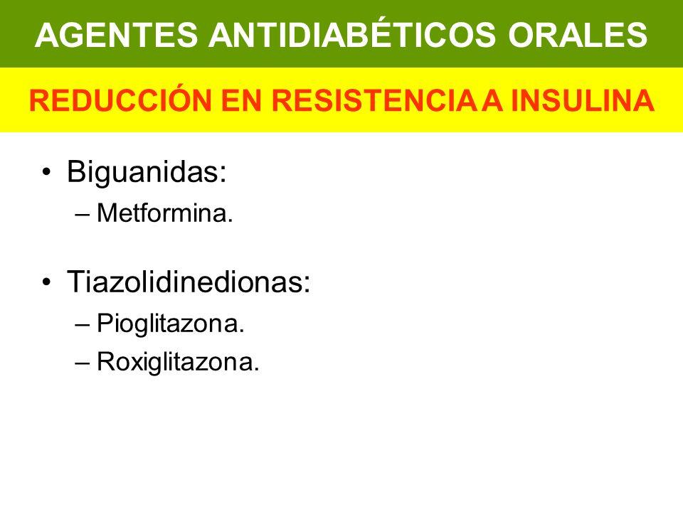 AGENTES ANTIDIABÉTICOS ORALES REDUCCIÓN EN RESISTENCIA A INSULINA