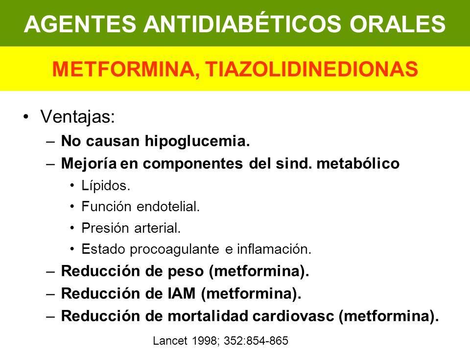 AGENTES ANTIDIABÉTICOS ORALES METFORMINA, TIAZOLIDINEDIONAS