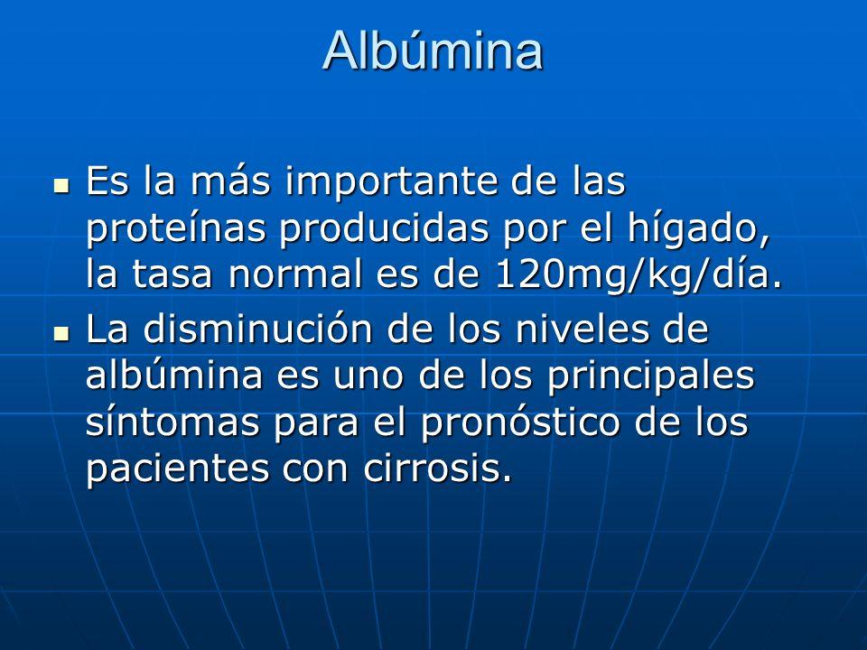 Albúmina Es la más importante de las proteínas producidas por el hígado, la tasa normal es de 120mg/kg/día.