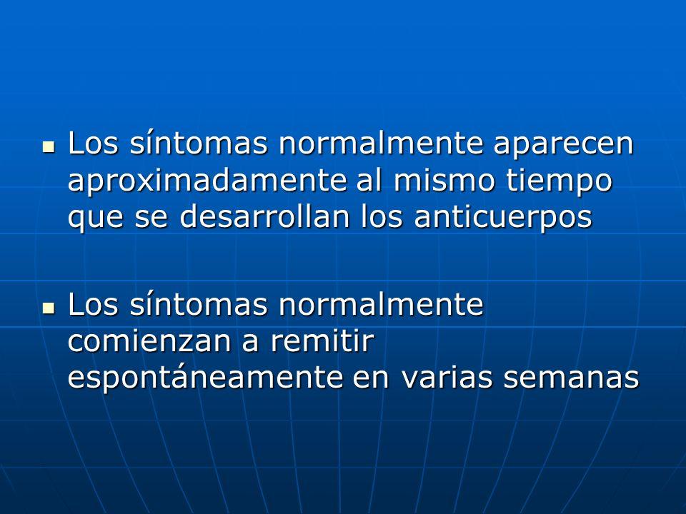 Los síntomas normalmente aparecen aproximadamente al mismo tiempo que se desarrollan los anticuerpos