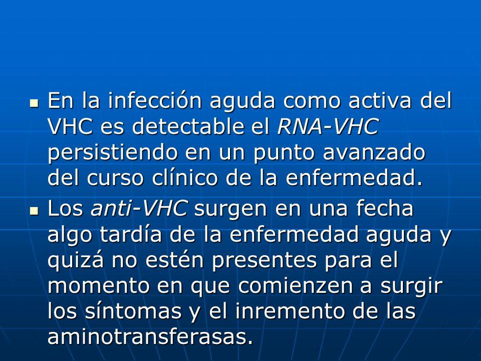 En la infección aguda como activa del VHC es detectable el RNA-VHC persistiendo en un punto avanzado del curso clínico de la enfermedad.