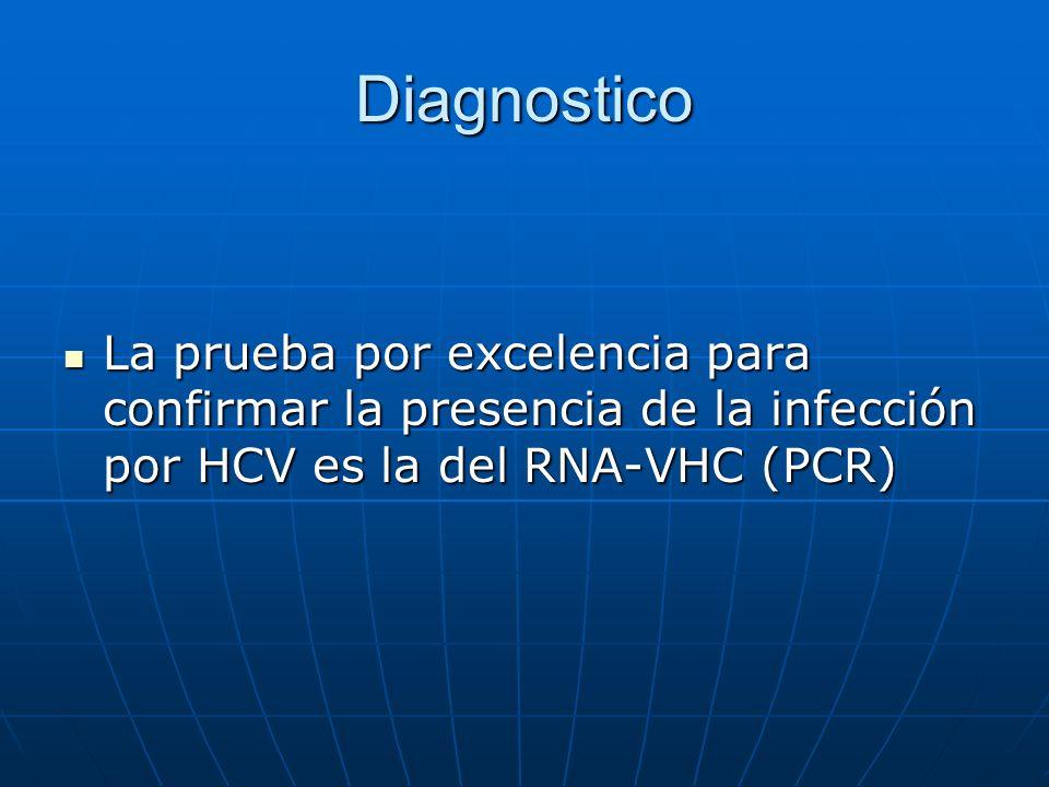 Diagnostico La prueba por excelencia para confirmar la presencia de la infección por HCV es la del RNA-VHC (PCR)