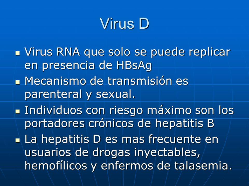 Virus D Virus RNA que solo se puede replicar en presencia de HBsAg