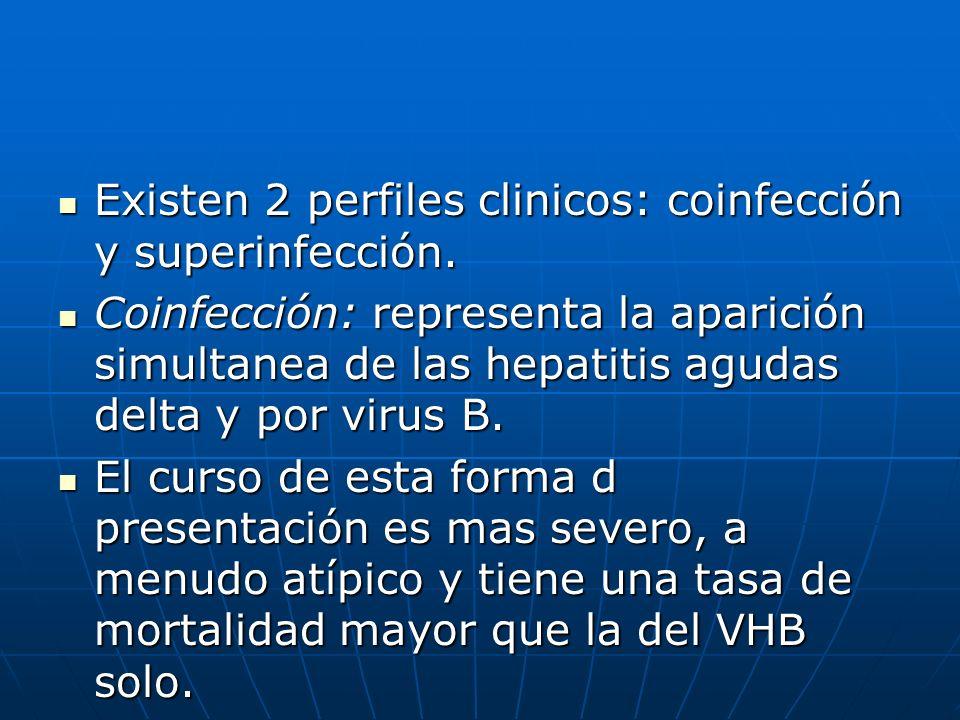 Existen 2 perfiles clinicos: coinfección y superinfección.