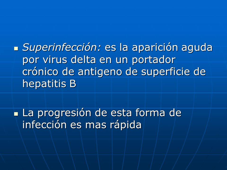 Superinfección: es la aparición aguda por virus delta en un portador crónico de antigeno de superficie de hepatitis B