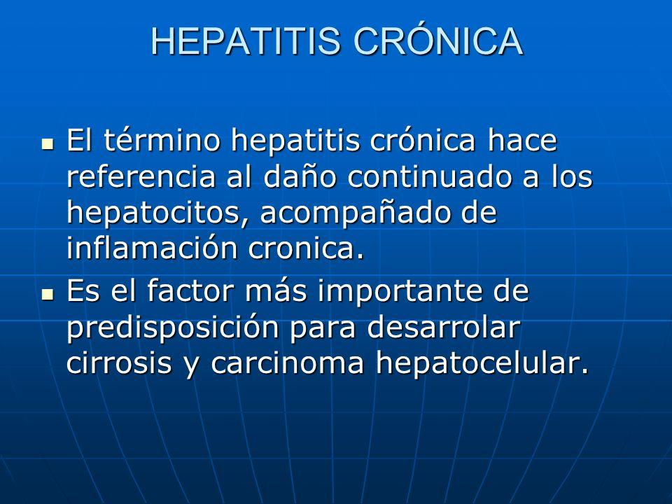 HEPATITIS CRÓNICA El término hepatitis crónica hace referencia al daño continuado a los hepatocitos, acompañado de inflamación cronica.