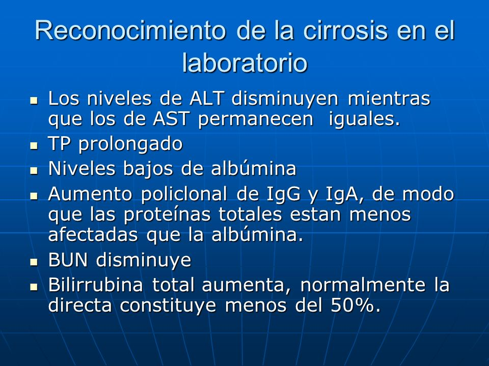 Reconocimiento de la cirrosis en el laboratorio