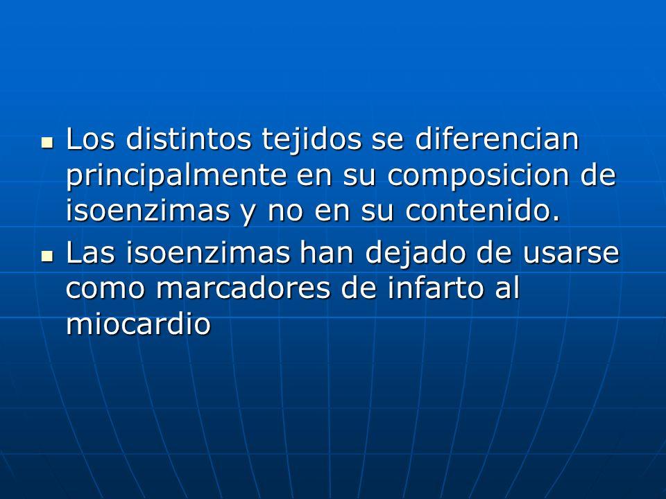 Los distintos tejidos se diferencian principalmente en su composicion de isoenzimas y no en su contenido.