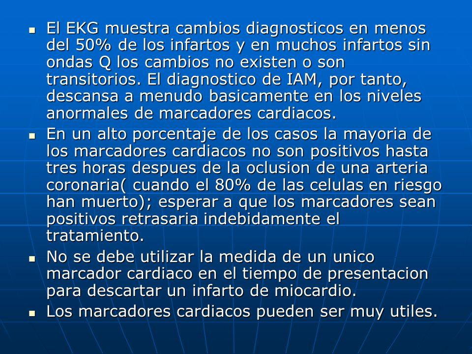 El EKG muestra cambios diagnosticos en menos del 50% de los infartos y en muchos infartos sin ondas Q los cambios no existen o son transitorios. El diagnostico de IAM, por tanto, descansa a menudo basicamente en los niveles anormales de marcadores cardiacos.