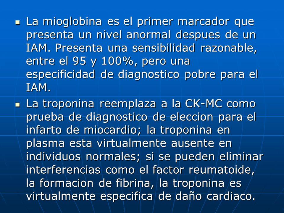 La mioglobina es el primer marcador que presenta un nivel anormal despues de un IAM. Presenta una sensibilidad razonable, entre el 95 y 100%, pero una especificidad de diagnostico pobre para el IAM.