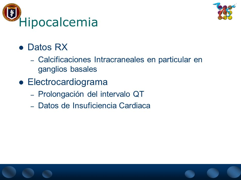 Hipocalcemia Datos RX Electrocardiograma