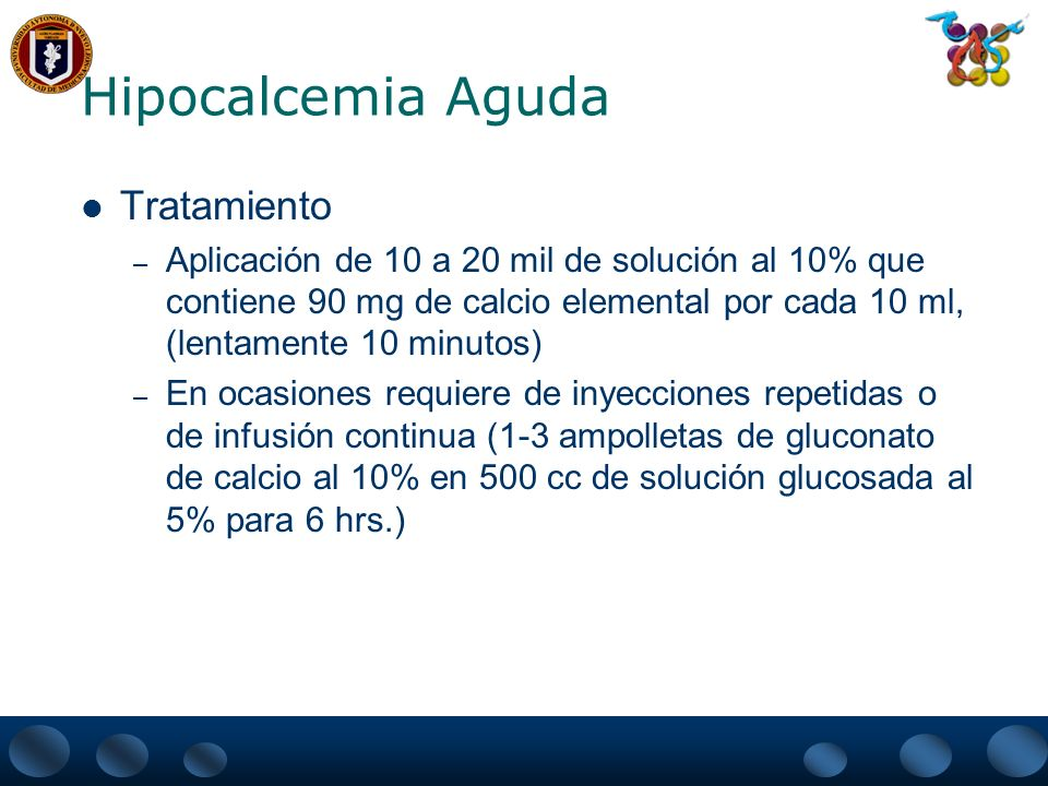 Hipocalcemia Aguda Tratamiento