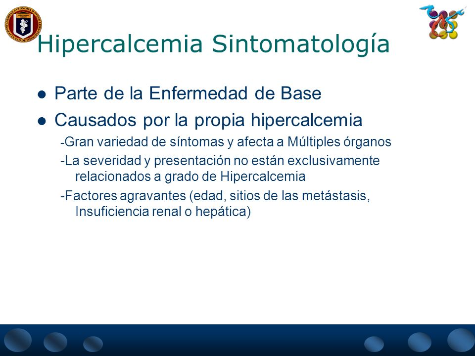 Hipercalcemia Sintomatología