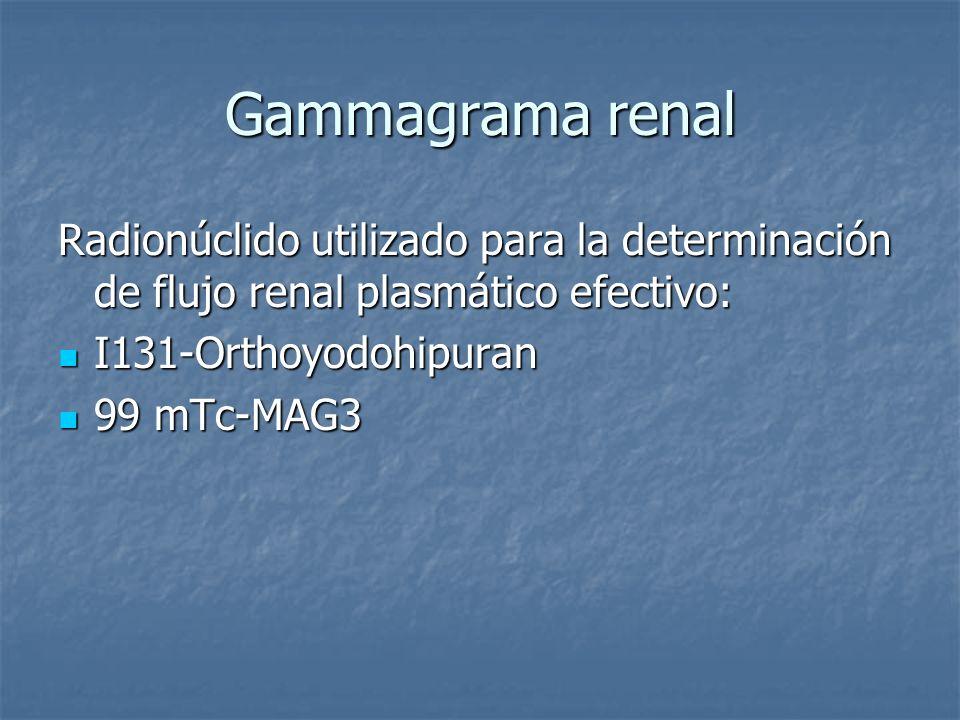Gammagrama renal Radionúclido utilizado para la determinación de flujo renal plasmático efectivo: I131-Orthoyodohipuran.