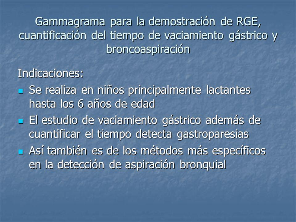 Gammagrama para la demostración de RGE, cuantificación del tiempo de vaciamiento gástrico y broncoaspiración