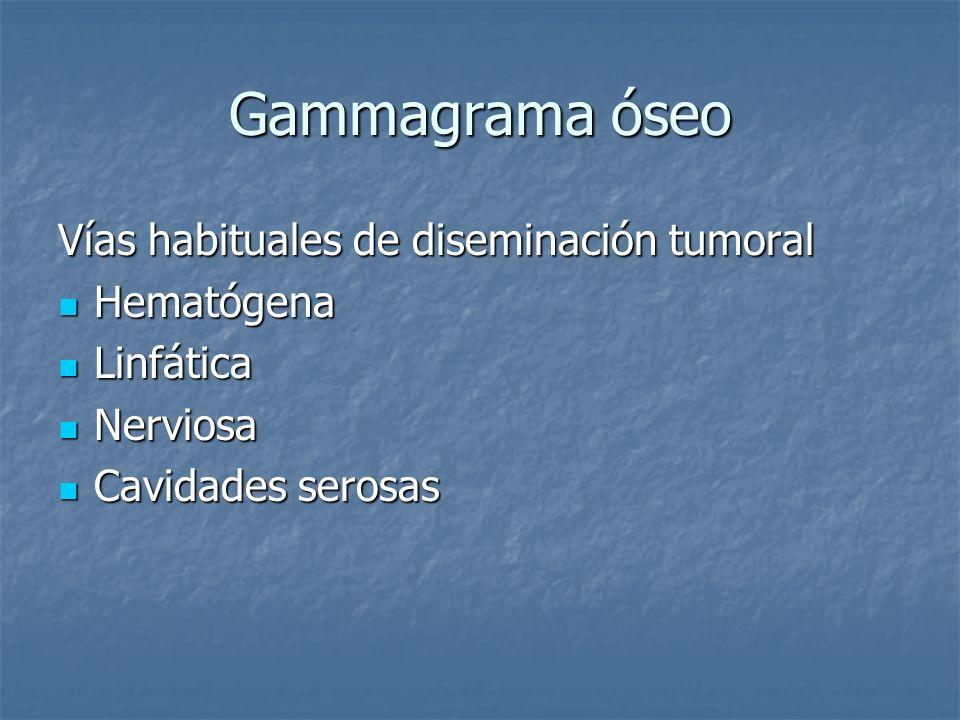 Gammagrama óseo Vías habituales de diseminación tumoral Hematógena