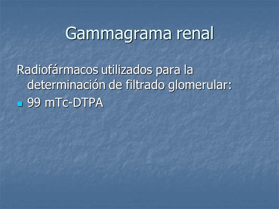 Gammagrama renal Radiofármacos utilizados para la determinación de filtrado glomerular: 99 mTc-DTPA