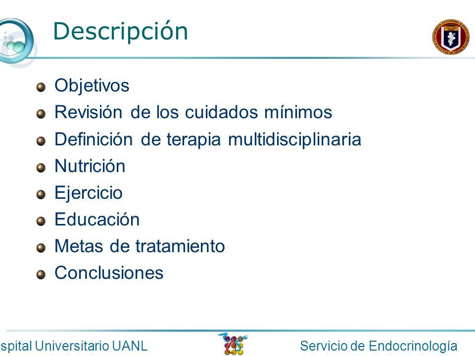 Descripción Objetivos Revisión de los cuidados mínimos