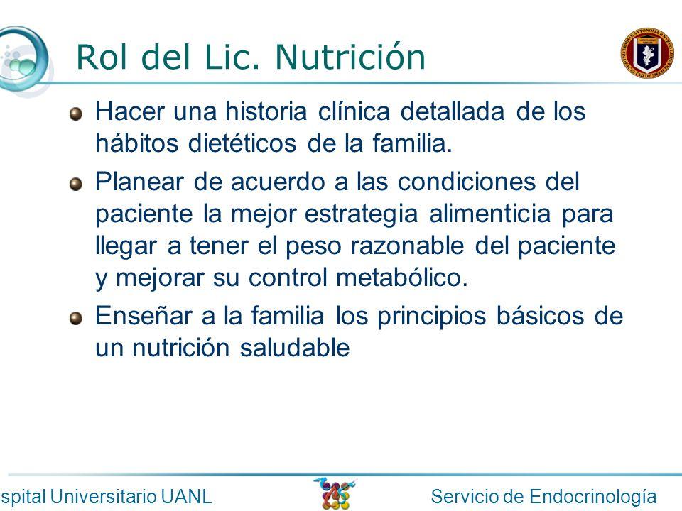 Rol del Lic. Nutrición Hacer una historia clínica detallada de los hábitos dietéticos de la familia.