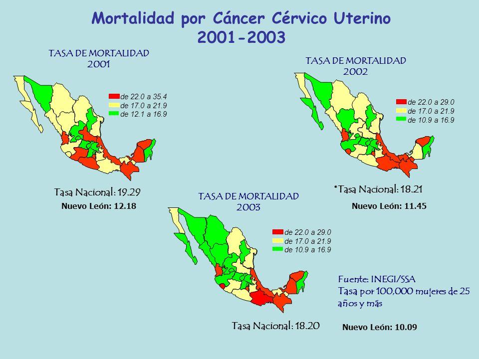 Mortalidad por Cáncer Cérvico Uterino 2001-2003
