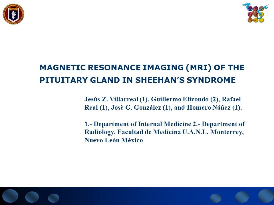 MAGNETIC RESONANCE IMAGING (MRI) OF THE PITUITARY GLAND IN SHEEHAN'S SYNDROME