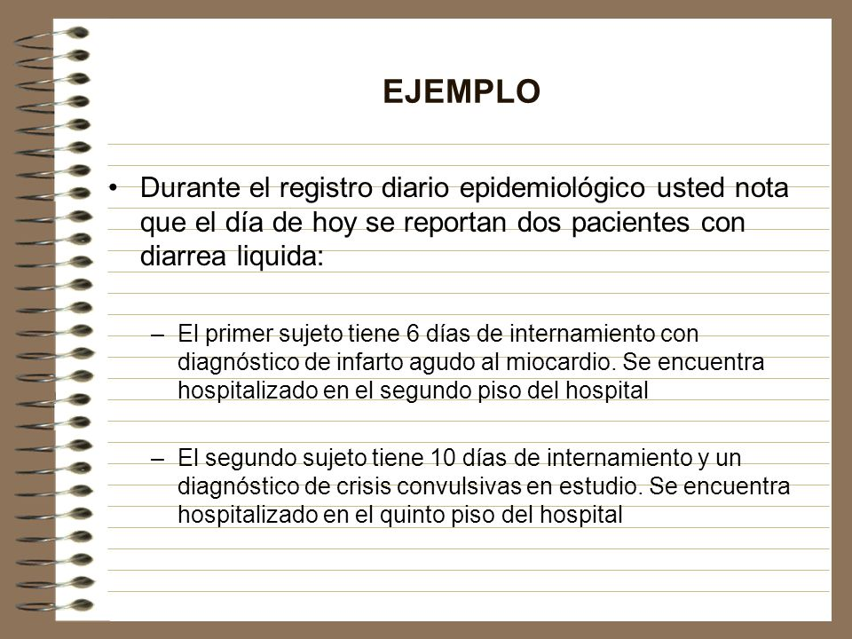 EJEMPLO Durante el registro diario epidemiológico usted nota que el día de hoy se reportan dos pacientes con diarrea liquida: